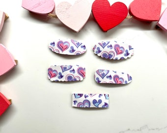 Faux Leather Heart Snap Clips