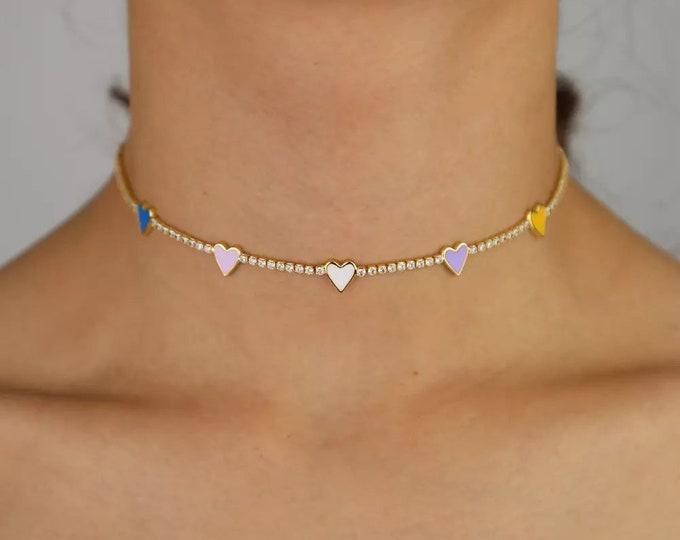 Choker Necklace Enamel Hearts
