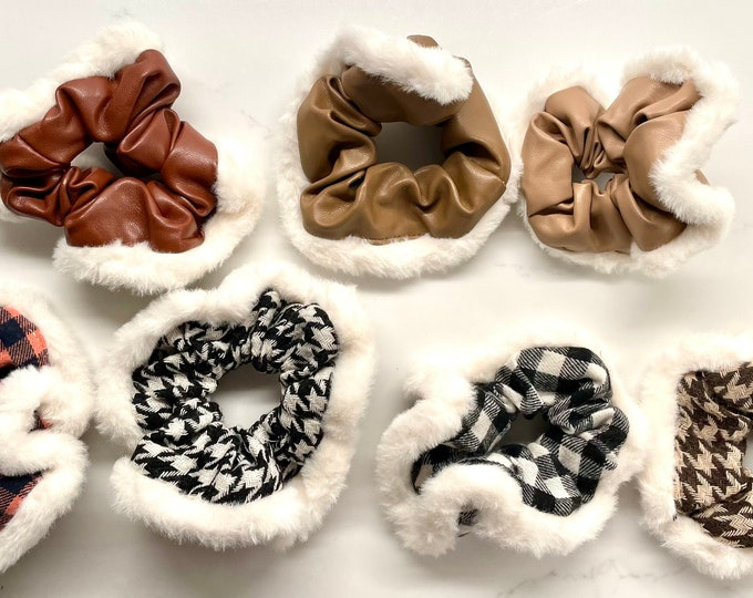 Fur Leather Pattern Scrunchies