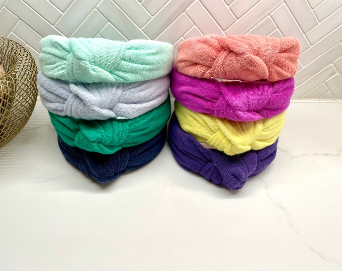 Terry Cloth Towel Top Knot Headband