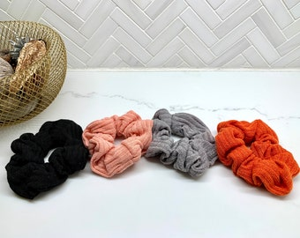 Wool Knit Ribbed Hair Scrunchie