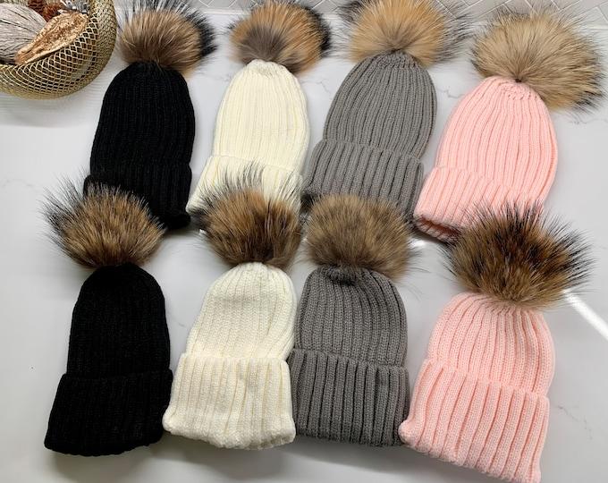 Big Fur Pom Knitted Matching Adult & Kids Hats