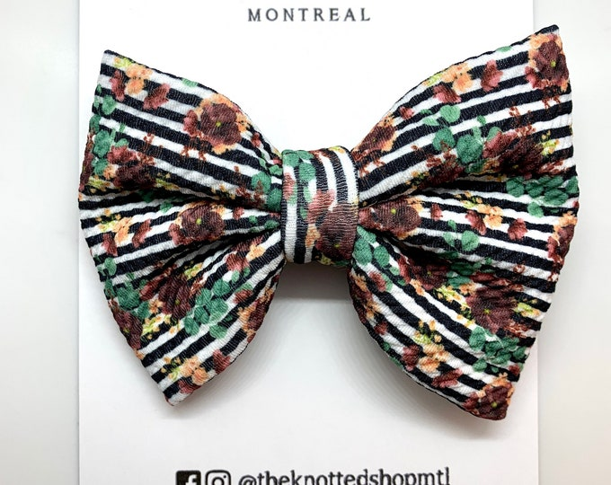"""Floral Liverpool Handmade Bow 5"""""""