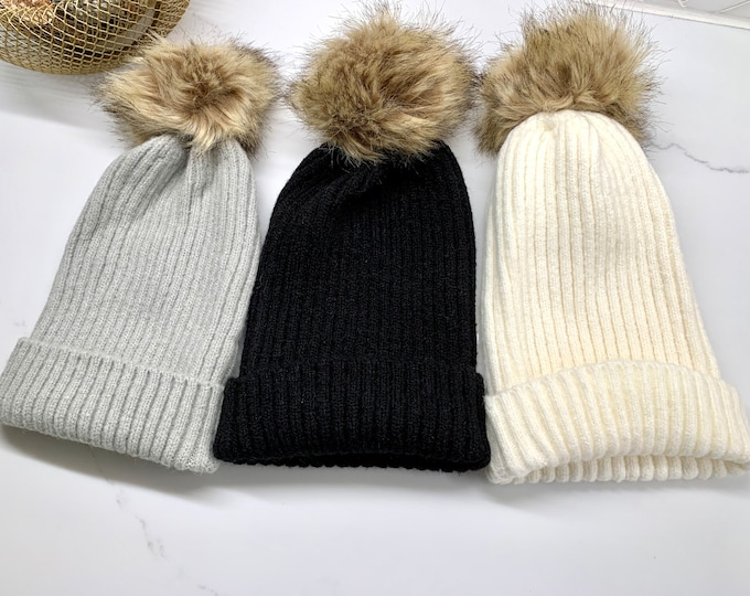 Ribbed Fur Pom Knitted Hats