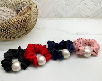 Large Pearl Silk Scrunchies