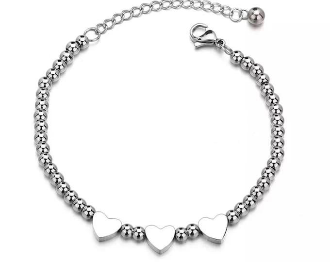 Stainless Steel Heart Bracelet