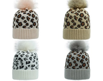 Adult Kids Leopard Knitted Hats