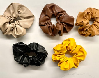 Faux Leather Scrunchie