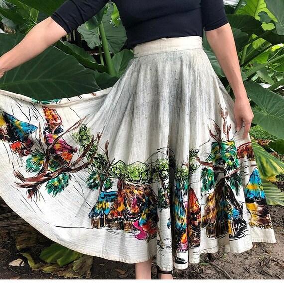 50s Vintage Souvenir Novelty Print Wrap Skirt