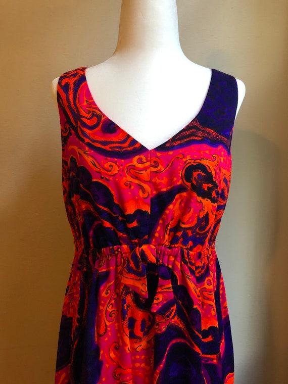 60s Kamehameha Op Art Mod Maxi Dress