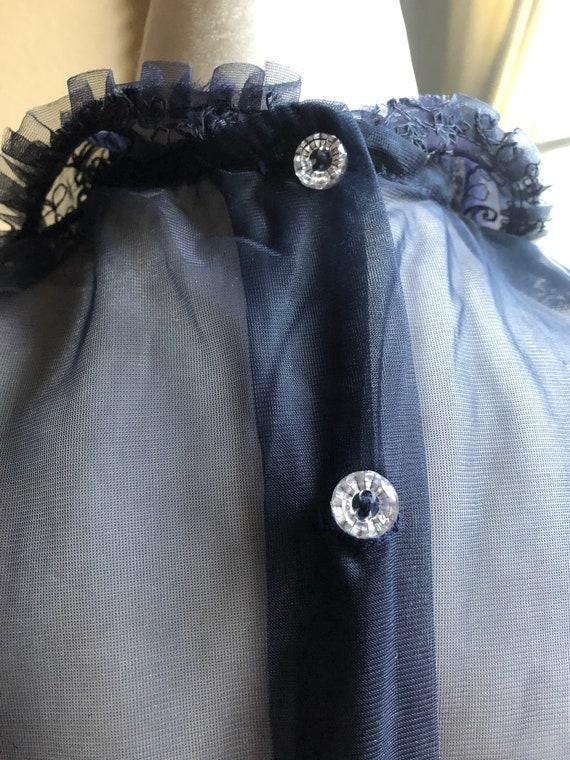 40s Vintage Sheer Puff Sleeve Blouse Deadstock - image 6