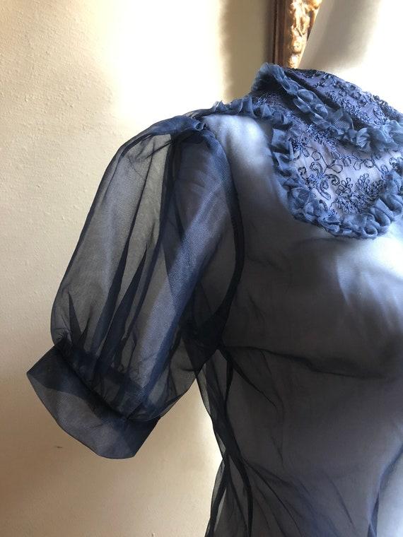 40s Vintage Sheer Puff Sleeve Blouse Deadstock - image 3