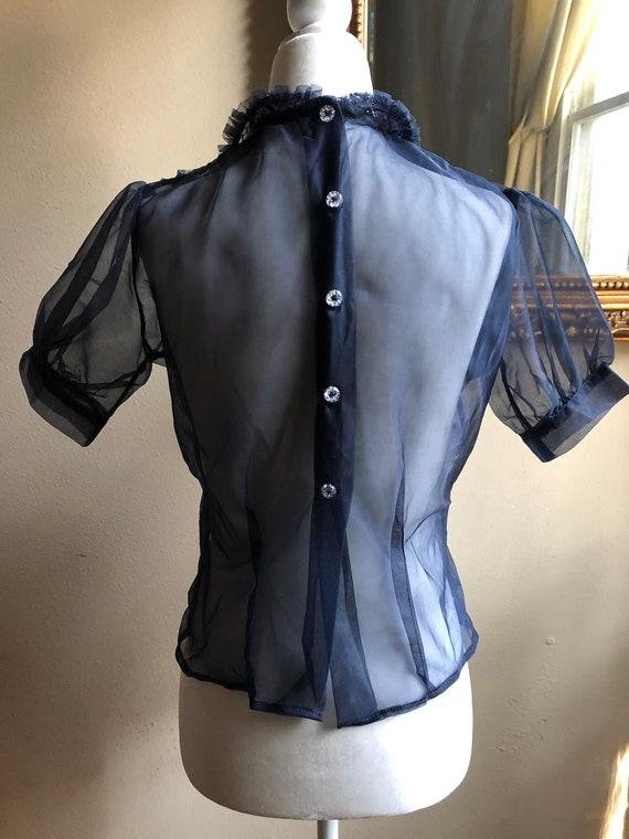 40s Vintage Sheer Puff Sleeve Blouse Deadstock - image 5