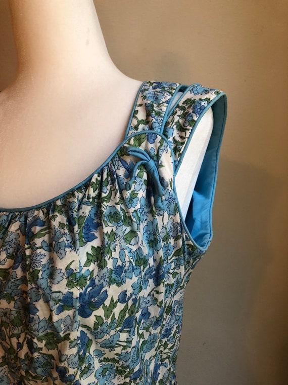 Vintage 50s Blue Floral Cotton Day Dress