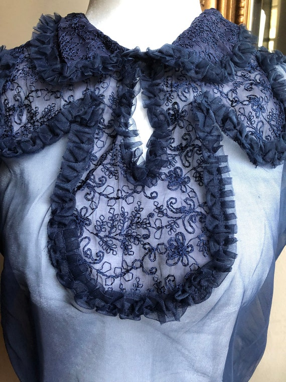 40s Vintage Sheer Puff Sleeve Blouse Deadstock - image 2