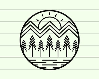 Simple Mountain SVG File, Minimalist Mountain SVG diy Graphic Tee, Cut Files For Cricut, Mountain Silhouette, Outdoor Adventure Nature SVG