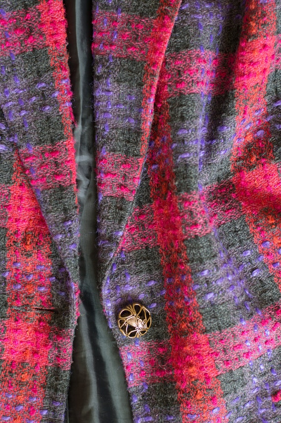 Vintage Plaid Blazer - 80s/90s - Pink, Purple, an… - image 6