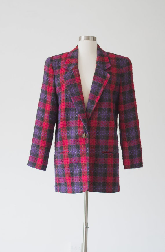 Vintage Plaid Blazer - 80s/90s - Pink, Purple, an… - image 2