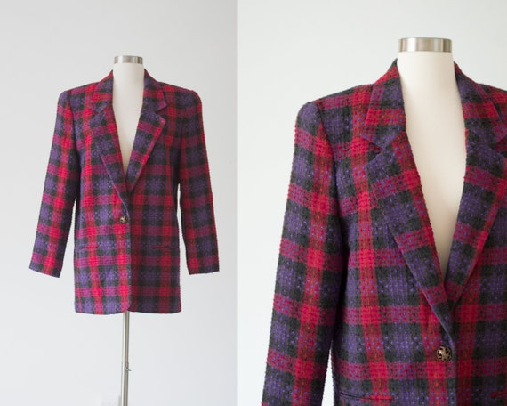 Vintage Plaid Blazer - 80s/90s - Pink, Purple, an… - image 1