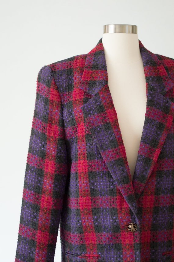 Vintage Plaid Blazer - 80s/90s - Pink, Purple, an… - image 4