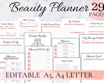 Beauty planner, Skin care planner, Skin Care journal, Beauty Routine Tracker, Skincare Routine, Makeup Planner Editable A4 A5 Editable