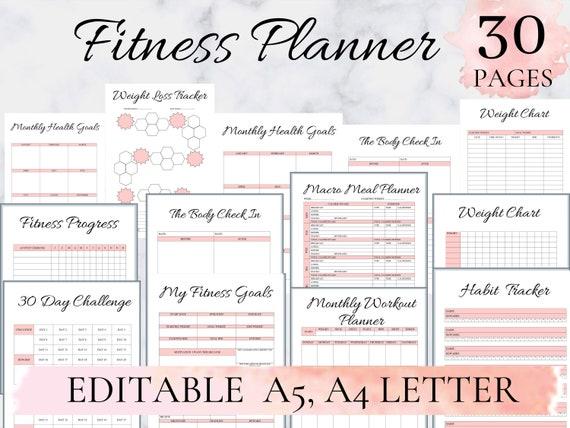 Weightloss Calories Digital Printable Weightloss Tracker Calories Tracker Weeklong Weightloss Calories Tracker A4 PDF