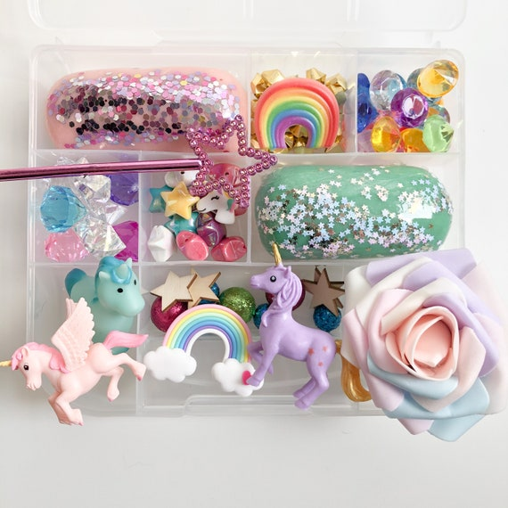 Unicorn Tinker Tray Unicorn Sensory Kit Unicorn Play Dough Kit Kids Birthday Gift Unicorn Busy Box Rainbow Magical Sensory Play