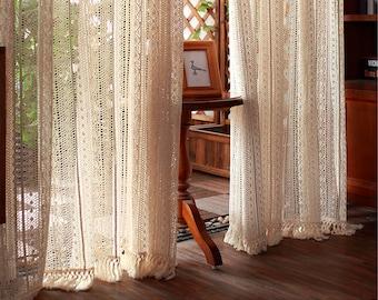 Balcony hook curtain.Knitted curtain.Curtain country house.1pc Beige handmade curtain.Bedroom curtain.Knitted Bohemian curtain