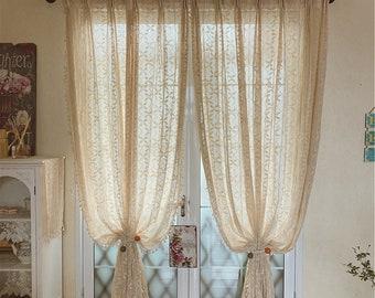 A piece of window curtain.Hook curtain.Translucent retro curtain.Bedroom curtain.Spring curtain.Knitted curtain.