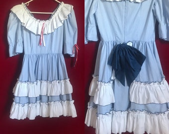 Sailor vintage blue with red bows ruffle prairie mini dress quarter sleeves lettuce trim puffy fit flare size 6