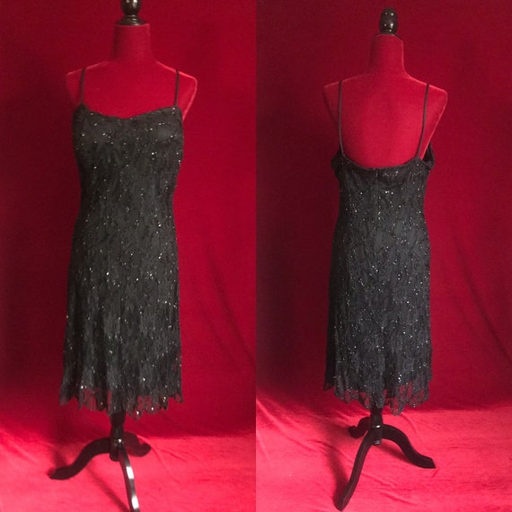 Black beaded sparkly Hollywood glamour gothic dark