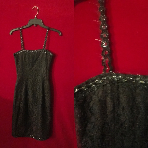 Black sequin shimmery gothic lace mini dress size