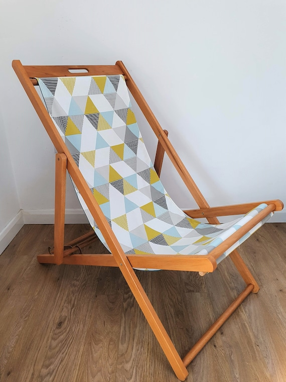 Upcycled Deckchair | Garden Furniture | Geometric Print | Blue and Mustard