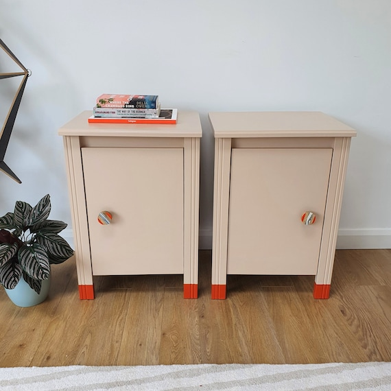 Pair of Bedside Tables | Bedroom Furniture | Upcycled Furniture | Orange Accent