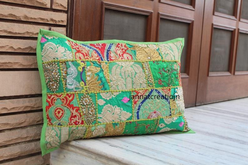 Vintage Handmade Pillow Sham Home D\u00e9cor Living Room Boho Pillow Covers Handmade Pillow Covers  Patchwork Pillow Covers Green Multi Color