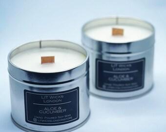 Birthday 11x 10cl Handmade Wooden Wick Soy Wax Vegan Friendly Candles Hamper Travel Size