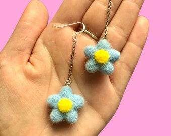 Felt Earrings, Needle Felt Earrings, Handmade Earrings Dangle, Flower Earrings Dangle, Hypoallergenic Earrings, Sterling Silver