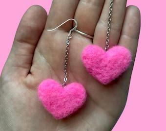 Felt Earrings, Needle Felt Earrings, Handmade Earrings Dangle, Pink Earrings, Heart Earrings Dangle, Heart Earrings Gold 14k