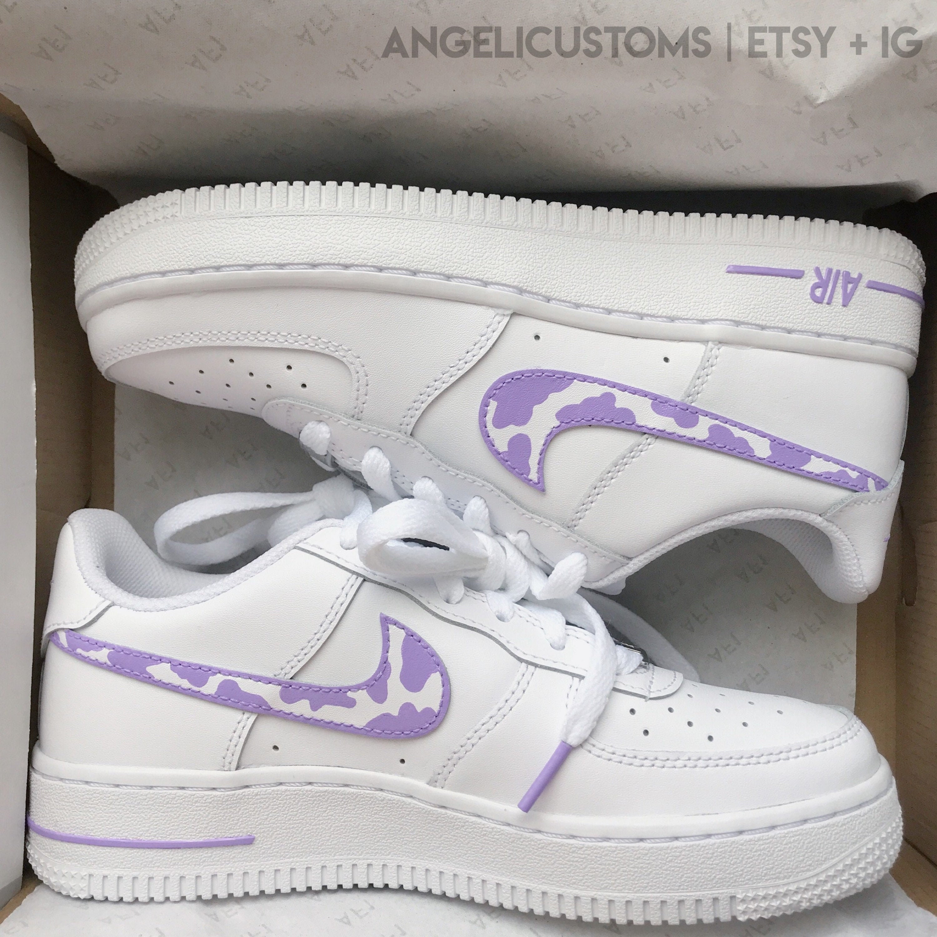 cow print pattern air force 1 [af1] | lilac pink beige brown mint| hand painted nike custom personalised white shoe pastel trainers women's