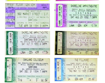 "Carlos SANTANA, Collectible, Bay Area San Francisco, Concert Tickets, The Fillmore, Oakland Coliseum, Greek Theatre, The Warfield,  8""x10"""