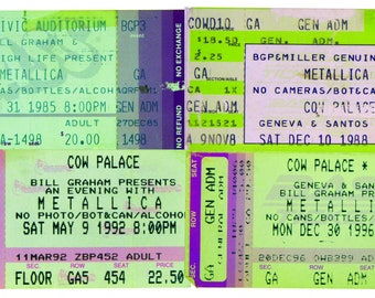 "METALLICA, Digital Print, Concert Tickets, Collectible, Bay Area San Francisco, Cow Palace, SF Civic Auditourium, 8""x14"""