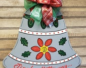 Christmas Door Hanger - Silver Bell Door Hanger - Jingle all the way - Xmas door decor - Jingle Bell  (free shipping in USA) -Ready to ship