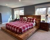 Reclaimed Oak Barn Wood Beam Platform Bed