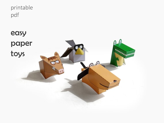 Paper animals. Easy paper toys for kids. Printable templates