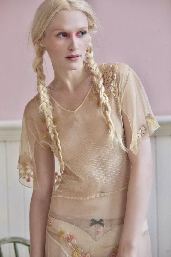 Vintage delicate feminine 20s semisheer tulle dres