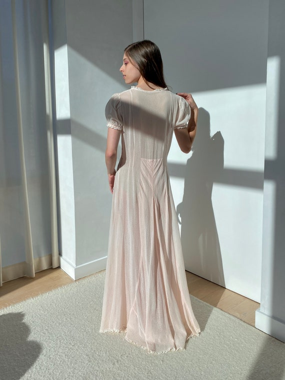 Vintage Original 1930s Pale Pink Silk Cloque Dres… - image 2