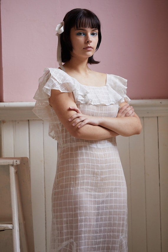 Vintage Bias cut White Cotton Dress