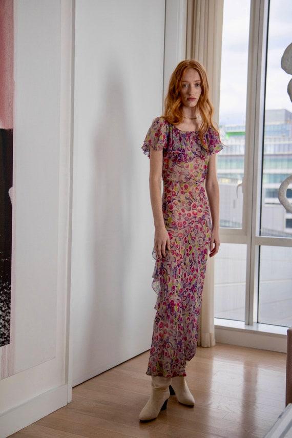 SOLD!1930s Silk Chiffon Floral Dress - image 3
