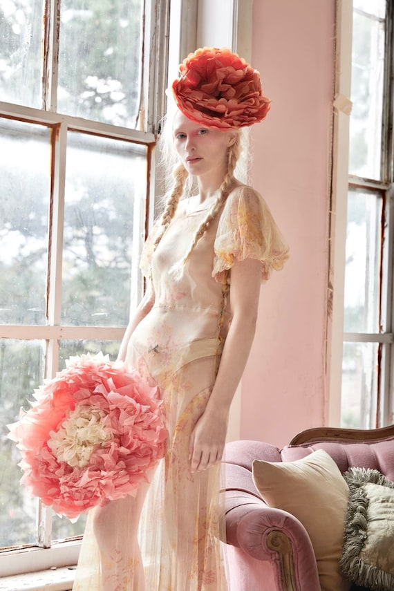 Vintage 30s ethereal peach silk tulle gown