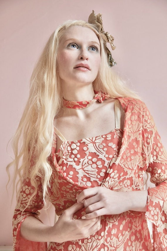 Vintage coral burnout velvet culotte dress